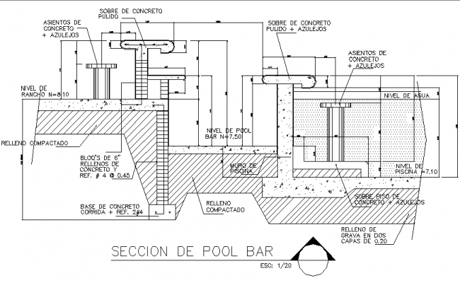 pool bar section detail dwg file
