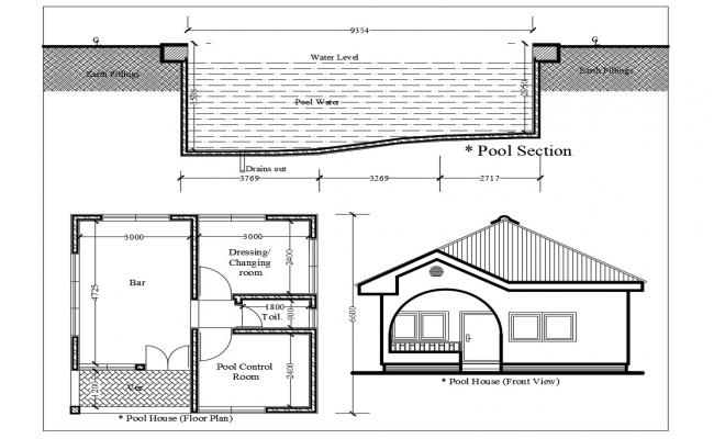 Pool house elevation and floor plan dwg autocad file