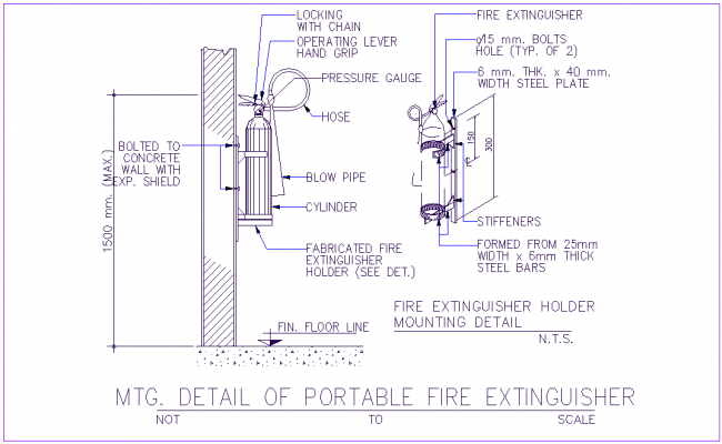 Portable fire extinguisher with pipe section view dwg file