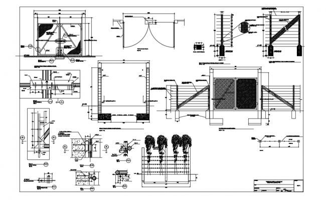 Porton and fence dwg file