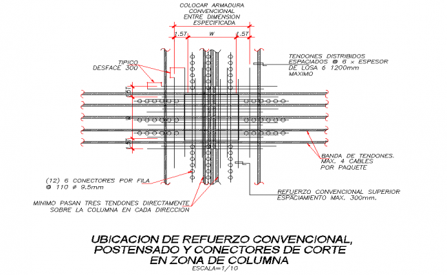 Post tension column reinforcement dwg file