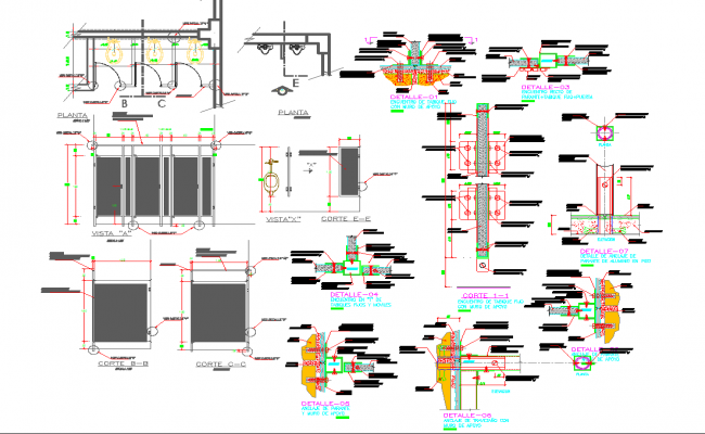 Powder room detail and design in autocad dwg files.