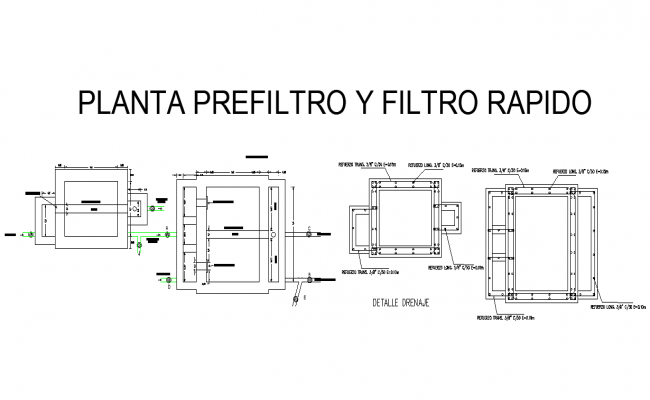 Prefilter plant and filter repeated detail dwg file