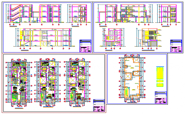 Presentation layout of Multi family housing design drawing