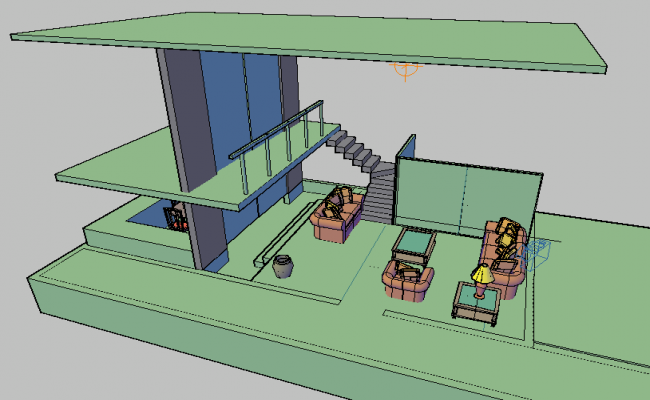 Preview of camera and its location in family house 3d design dwg file