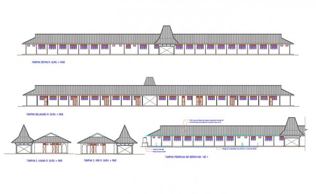 Primary School Building Elevation Design DWG File