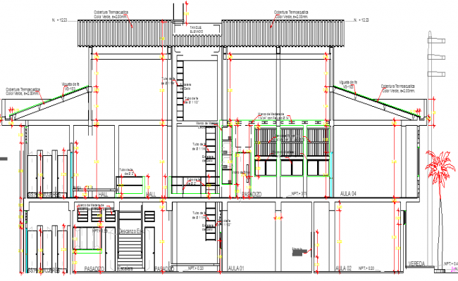 Primary School Design and Elevation Details dwg file