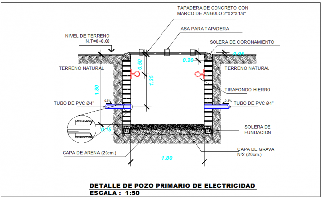 Primary electric PVC pipeline connection view detail dwg file