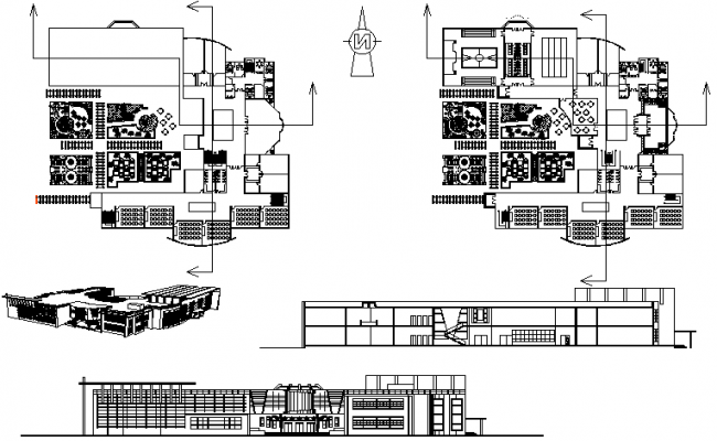 Primary school plan and elevation detail dwg file