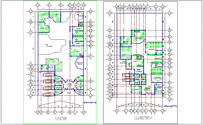 Primary school plan design view for children dwg file