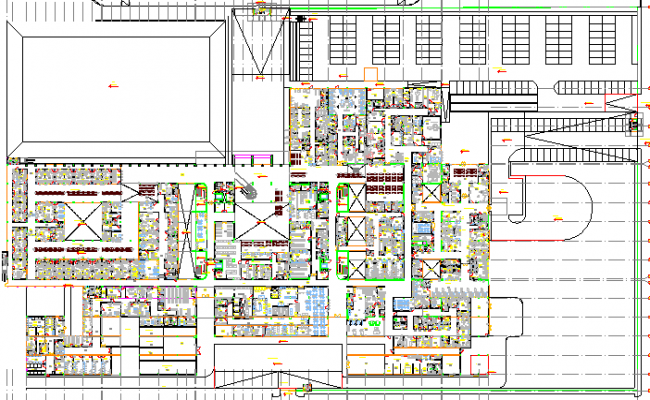 Private Multi-Specialty Hospital Architecture Layout dwg file
