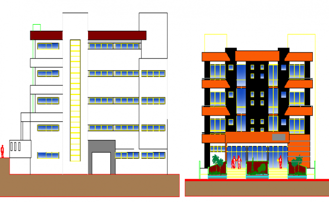 Private clinic and office main elevation view dwg file