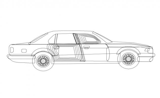 Private family car side elevation cad block details dwg file