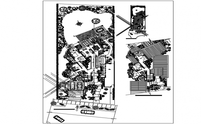 Private housing landscape view dwg file