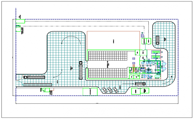 Processing plant of whet powder process layout detail dwg file