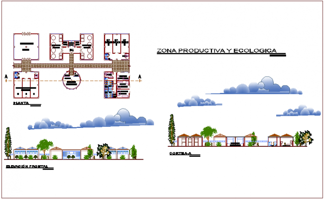 Productive and ecological area plan,elevation and section view for youth development center dwg file