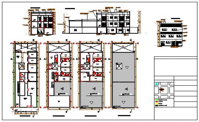 Professional offices and library 3 floors design drawing