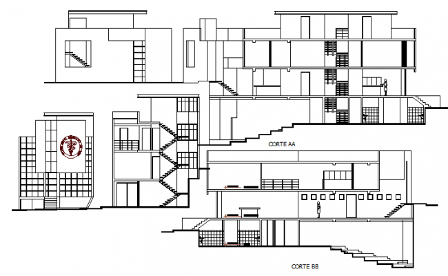 Professional union building full elevation and sectional view dwg file