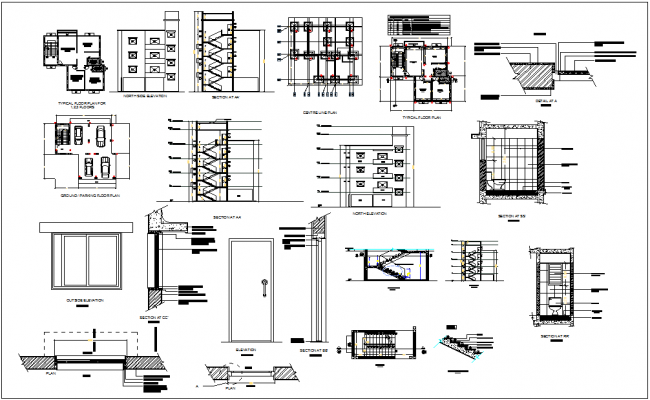 Project design of bungalows with floor plan and sectional view with structural detail dwg file