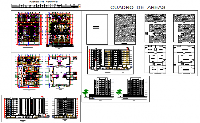 Project of multi family architectural  floors design drawing