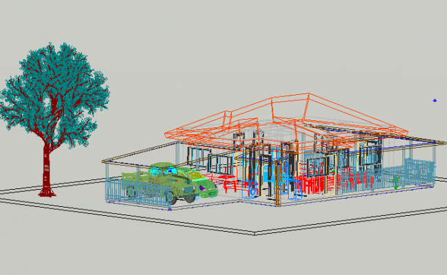 Project of rural residence 3 D detail dwg file