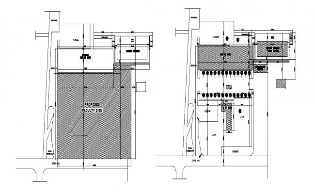 Propose faculty building site plan and landscaping structure details dwg file