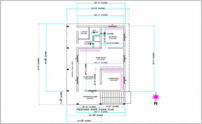 Proposed first floor plan of office area dwg file