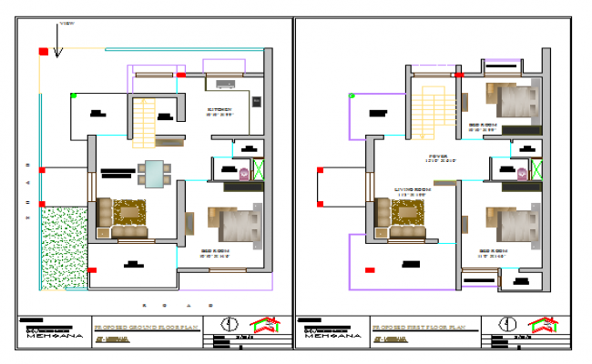 Proposed layout design drawing of House design drawing