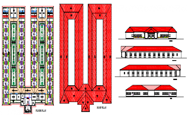 Proposed layout design of 36 rooms hostel design drawing