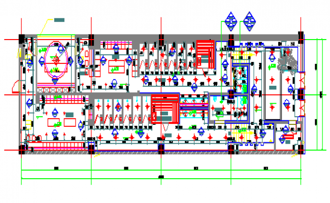 Proposed layout plan and  ceiling map Basement shower area of Ice World Congress Center design drawing