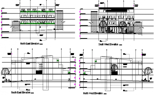 Proposed residential development elevation detail dwg file