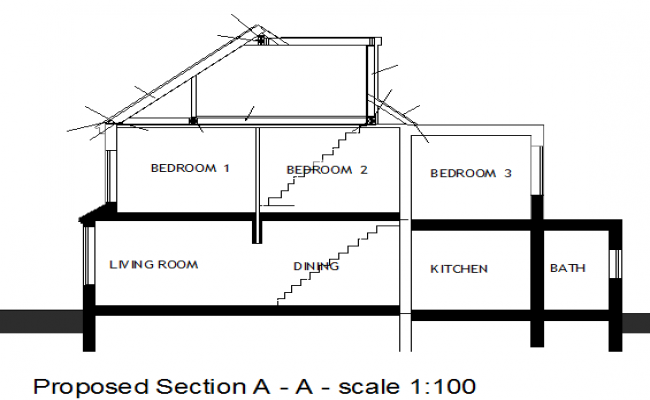 Proposed sectional view of one family house dwg file