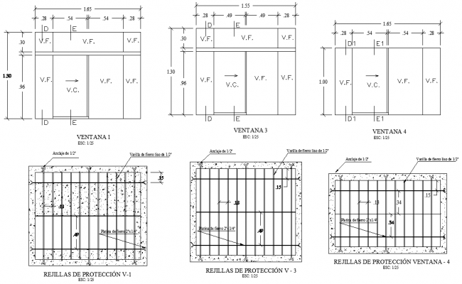 Protection grids plan and section detail dwg file