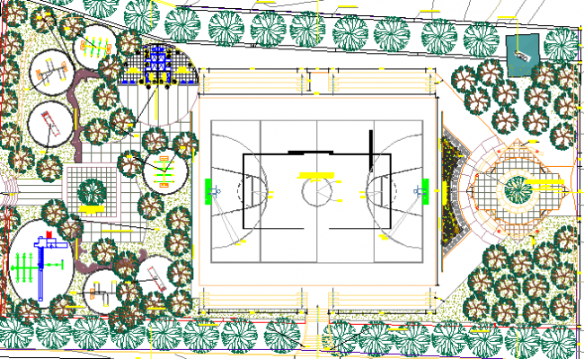 Public Park With Sports Ground Structure Details dwg file