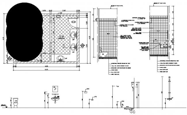 Public Toilet Design CAD Plan