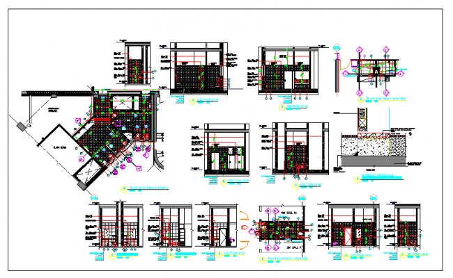Public Toilet Design and Elevation Plan dwg file