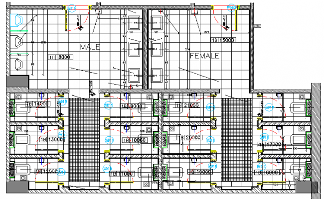 Public Toilet Elevation for Hotel dwg file