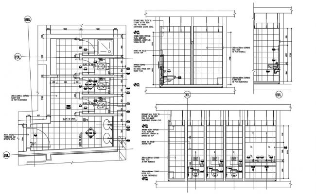 Public Toilet Floor Plan And Elevation DWG File