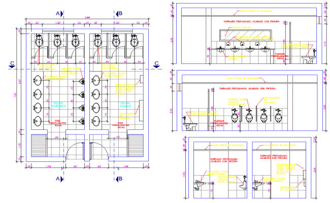 Public Toilet Project Detail Dwg File on Plan Section Elevation Drawings