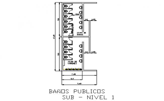 public w c plan detail dwg file