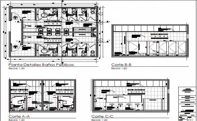 Public bathrooms auto-cad details in shopping center dwg file