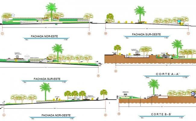 Public garden area section detail dwg file