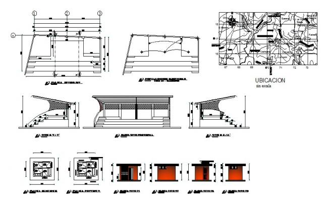 Public hygiene services elevation, section, plan and installation details dwg file