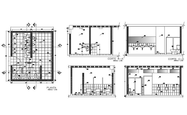 Public hygiene services section, plan and installation details dwg file