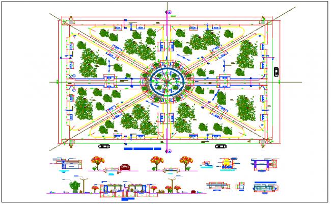 Public park architecture project dwg file