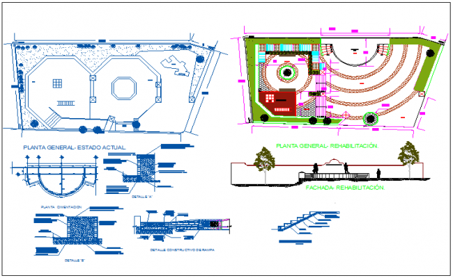 Public rehabilitation center detailed architecture project dwg file