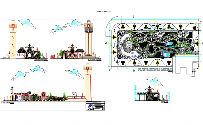 Public theme adventure park landscaping and architecture project dwg file