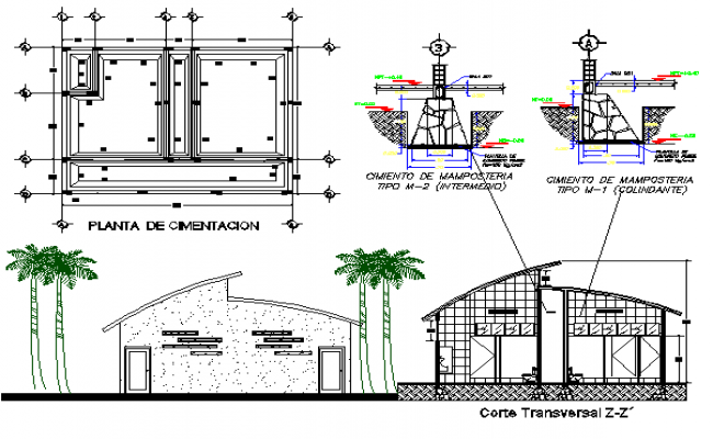 Public toilet architecture project details dwg file