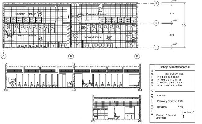 Public toilet center line plan and elevation detail dwg file