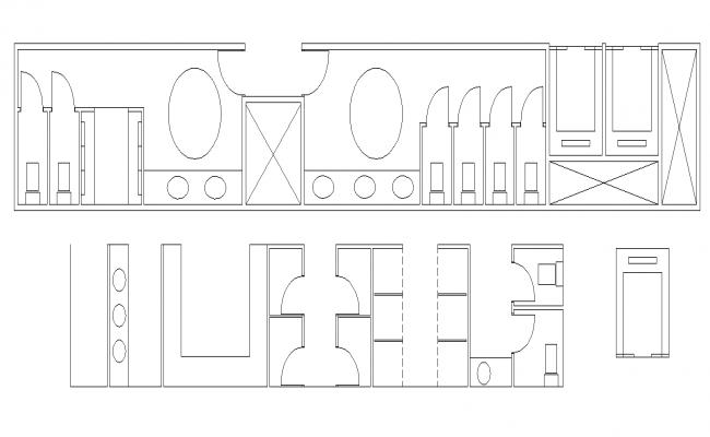 Public toilet detail plan 2d view layout file